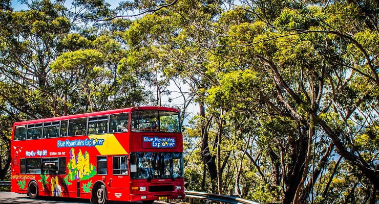 The Hop on hop off Blue Mountains Explorer Bus