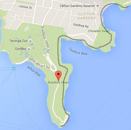 Bradleys Head to Chowder Bay walk map