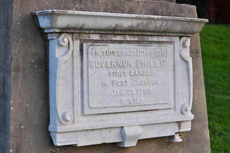 Governor Phillip plaque at Camp Cove