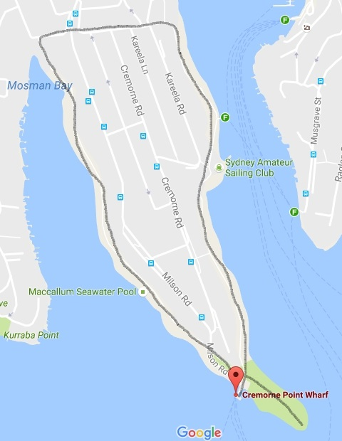 Cremorne Point walk map and route