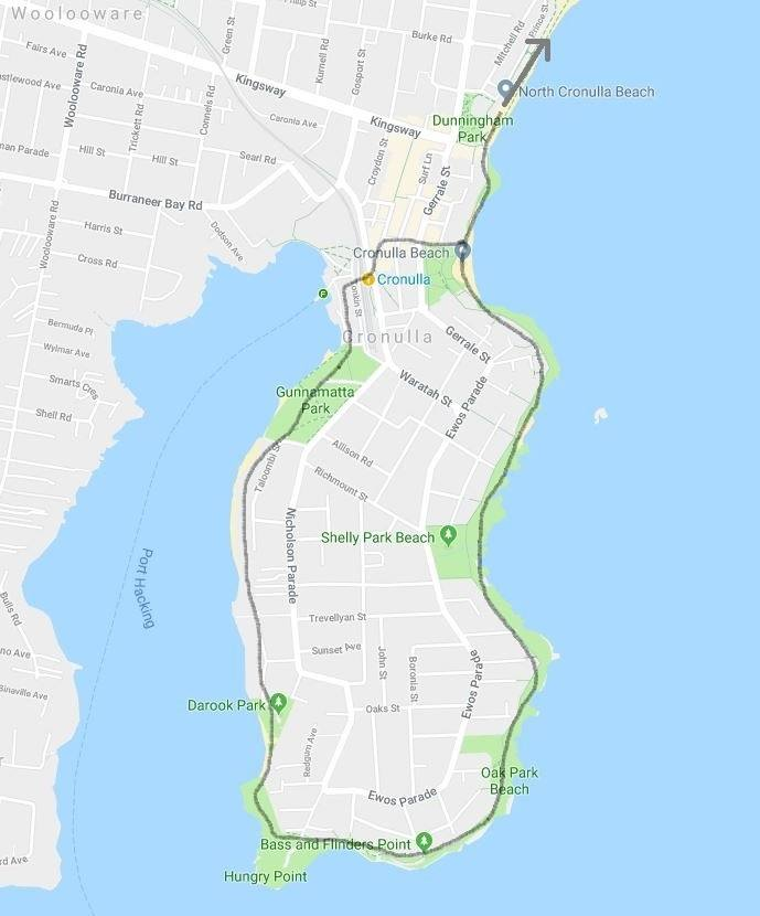 Cronulla Beach walk map and route