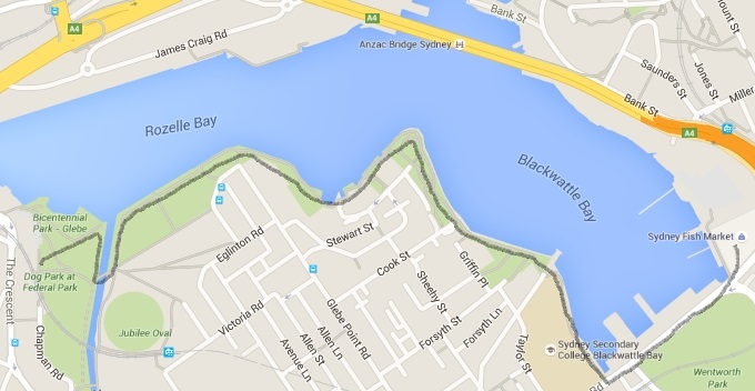 Glebe Foreshore walk map and route