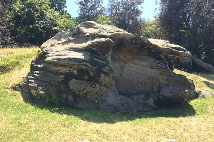 Old rock bench on Goat Island