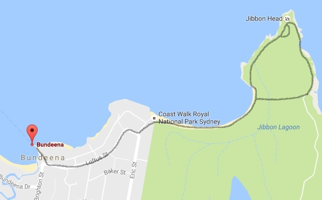 Map and route of the Jibbon Beach loop track