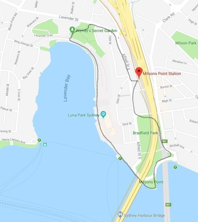 Map and route of the Lavender Bay and Milsons Point circuit walk