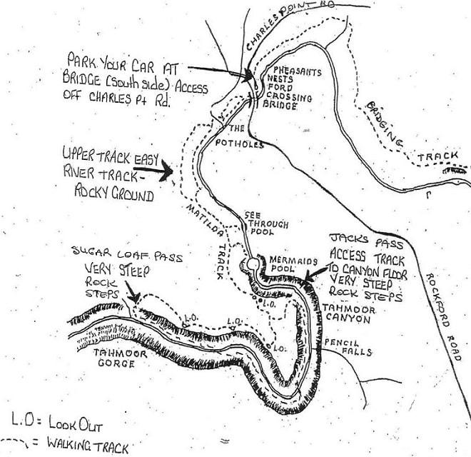 Mermaid Pools and Tahmoor Gorge map