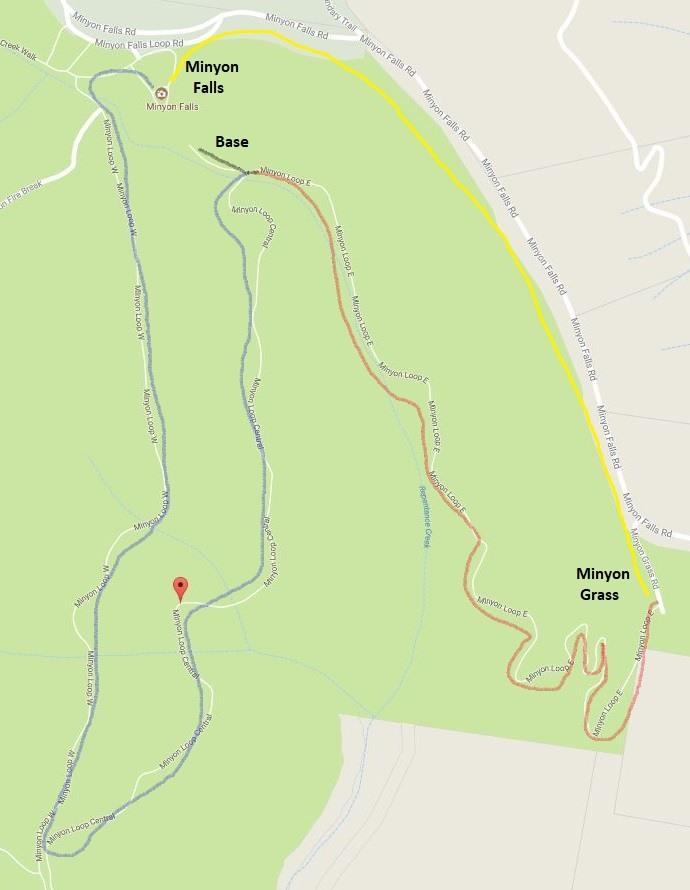 Map with Minyon Falls walking tracks