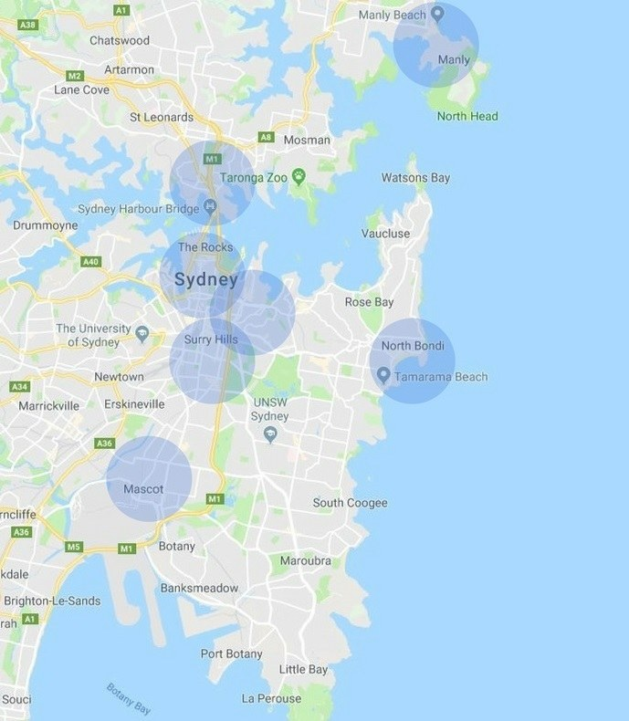 Map with popular areas to stay in Sydney