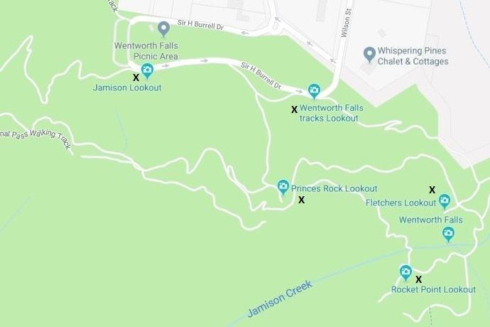 Wentworth Falls lookouts map