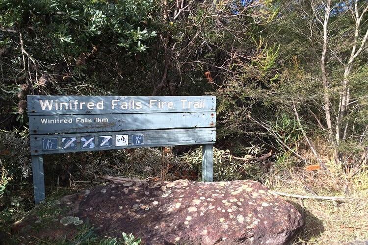 Winifred Falls Fire Trail sign