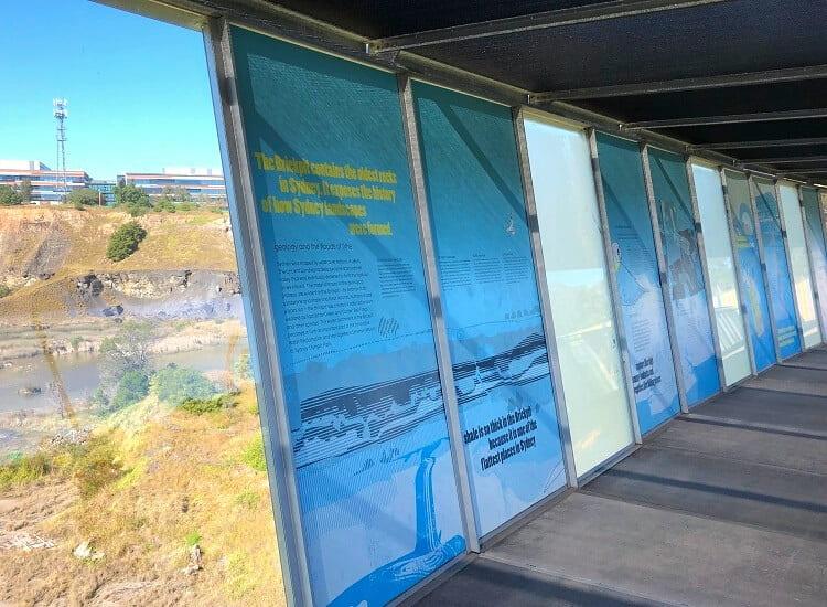 Information panels along the Brickpit Ring Walk