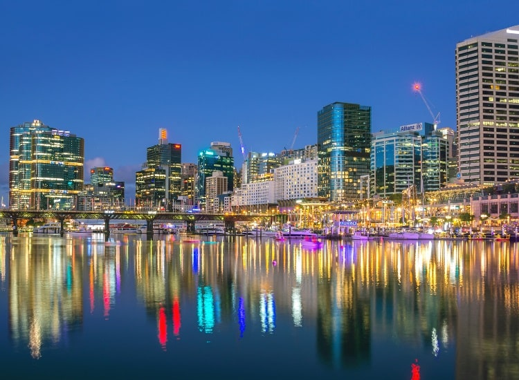 Darling Harbour at nighttime