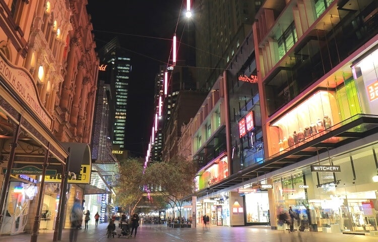 Go nighttime shopping at Pitt Street Mall