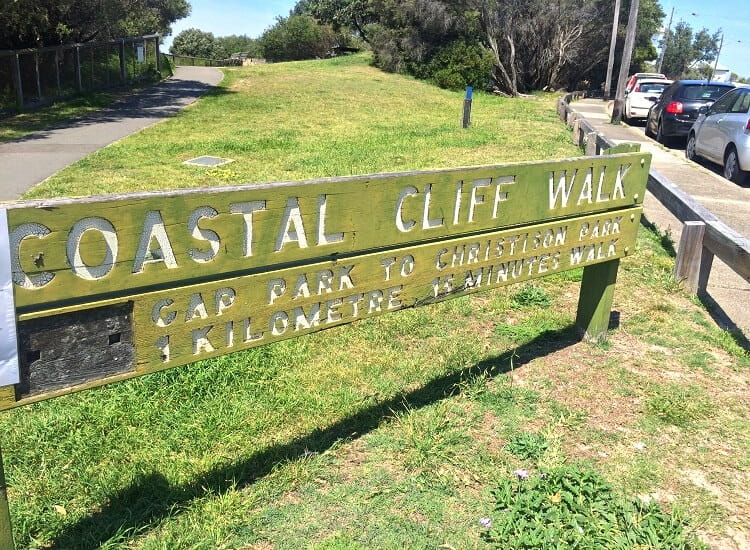 Signpost for the Coastal Cliff Walk