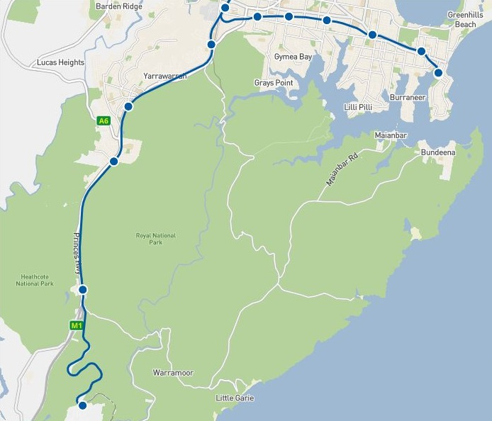 Map with train stations for Royal National Park