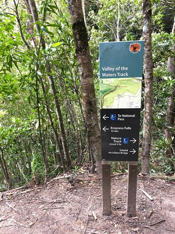 Valley of the Waters Track signpost