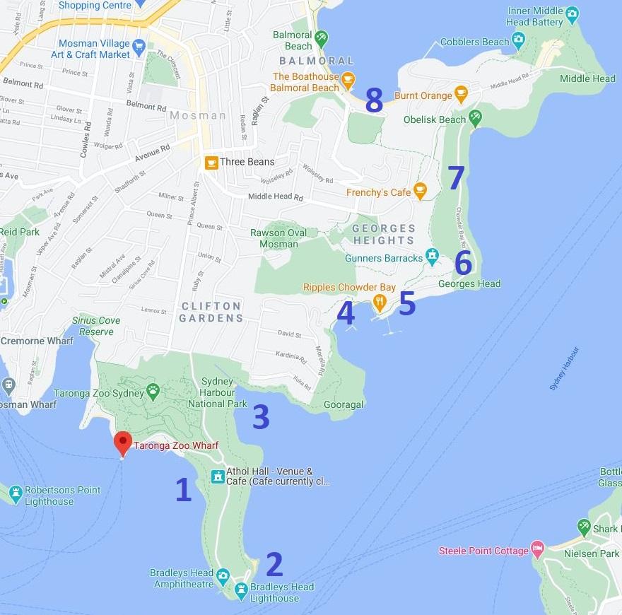 Map and highlights of Taronga Zoo to Balmoral Beach walk