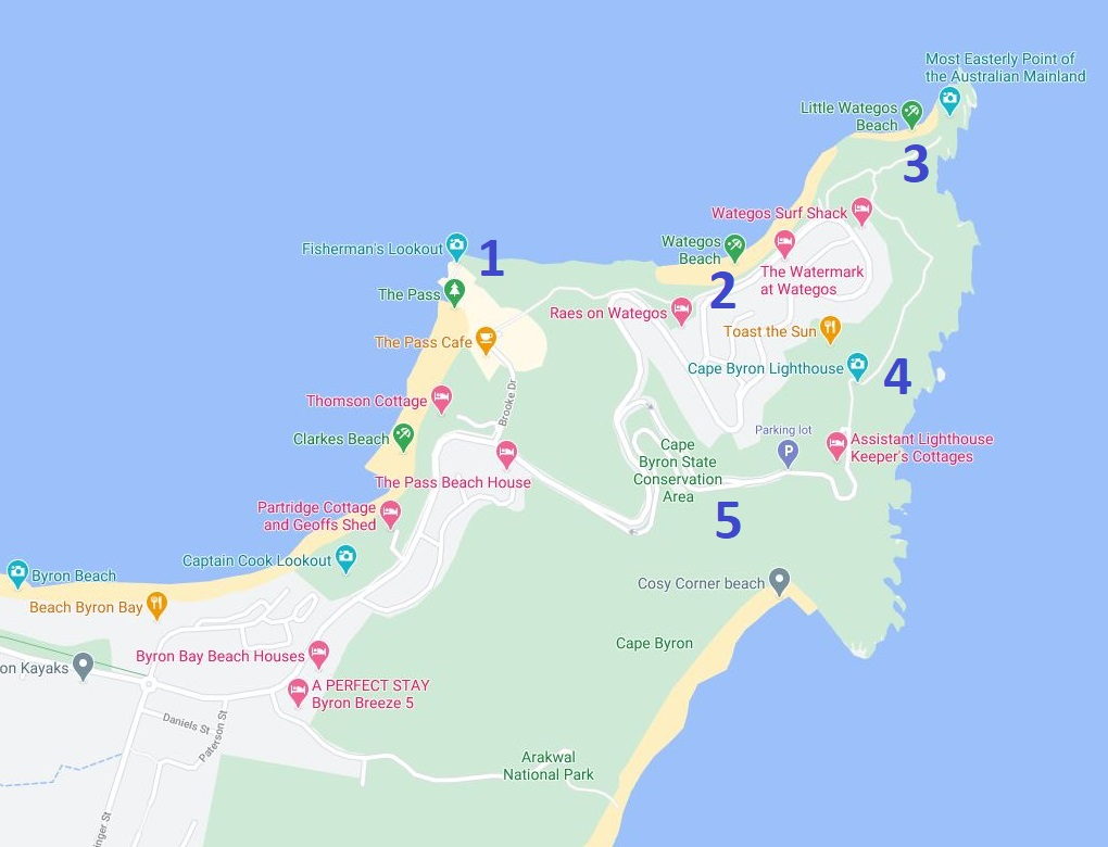 Map and Route of the Byron Bay Lighthouse Walk