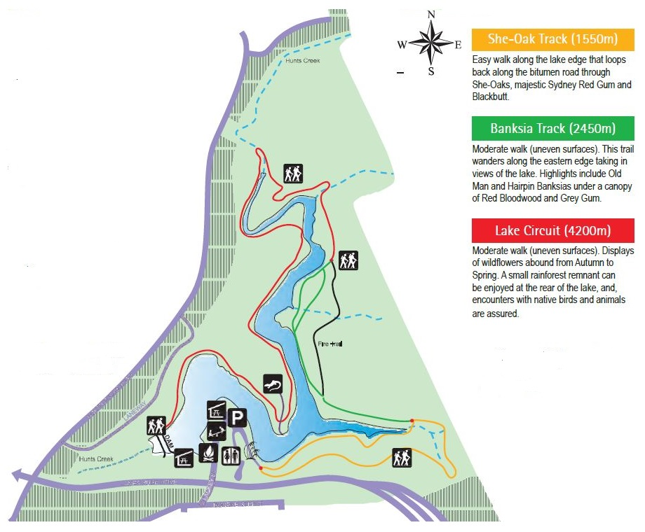 Map of Lake Parramatta Reserve with walking tracks