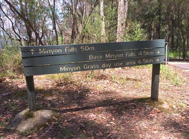 Signpost with walking tracks to Minyon Falls