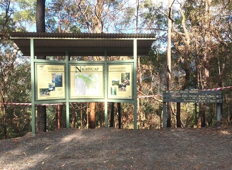 Nightcap National Park information board