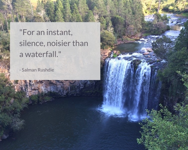 Salman Rushdie waterfall quote - For an instant, silence, noisier than a waterfall.