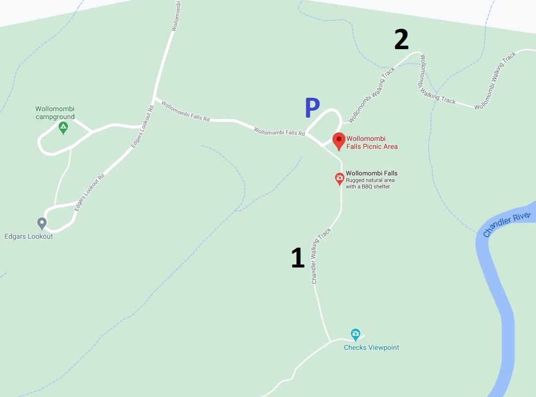 Map of Wollomombi Falls picnic area