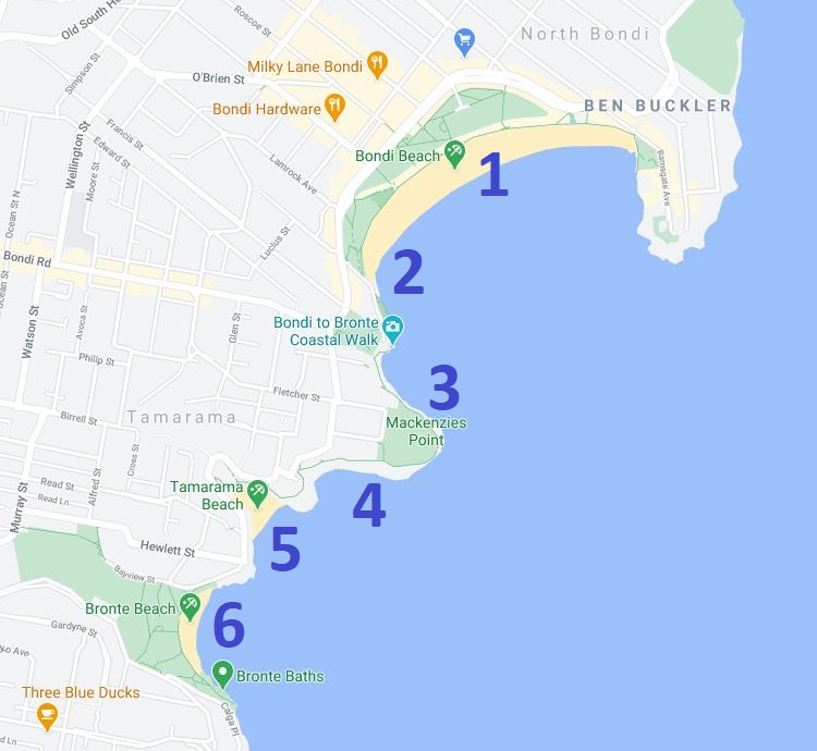 Map and route of the Bondi to Bronte walk