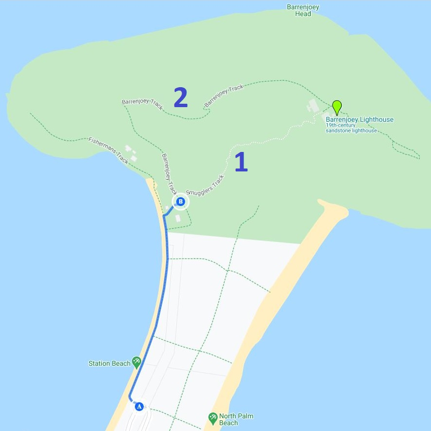 Map and route of the Barrenjoey Lighthouse Walk