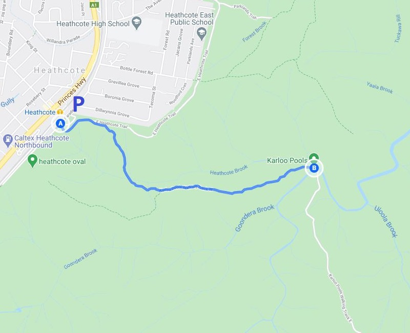 Map and route of the walking track to Karloo Pools from Heathcote