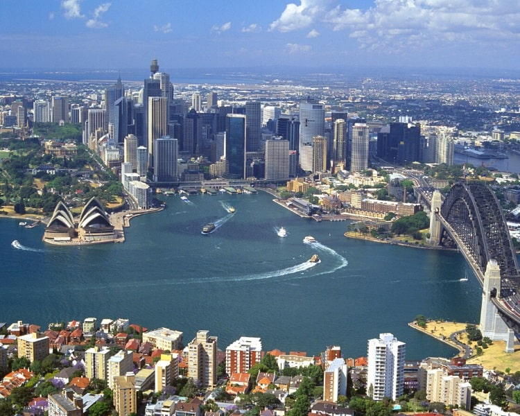 Birds eye view of Sydney