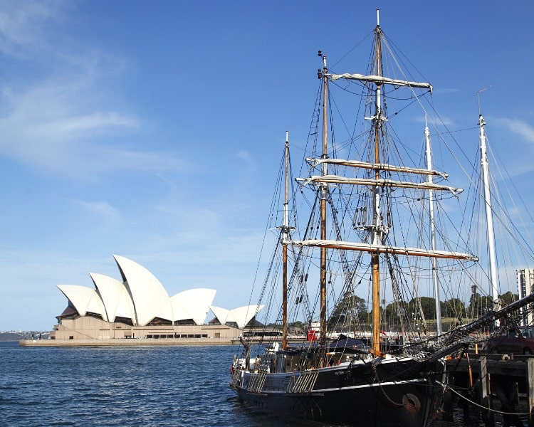 Tall ship in Sydney Harbour