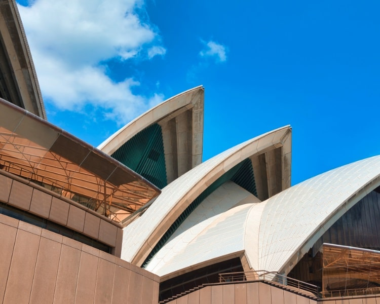 Closeup view of Sydney Opera House
