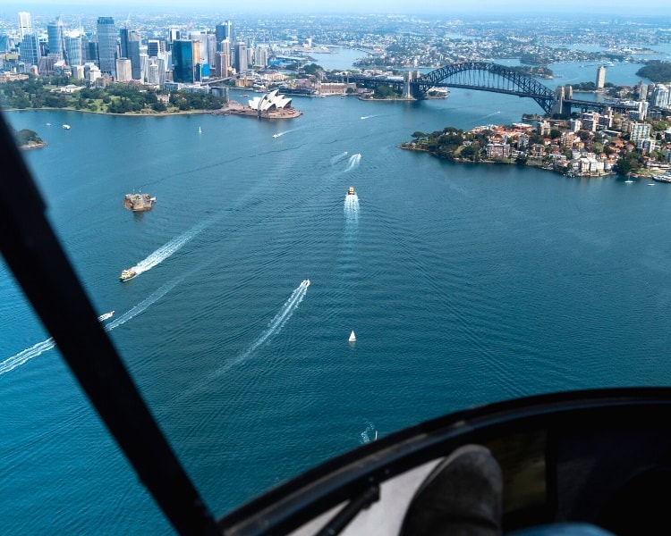 Seaplane flight over Sydney