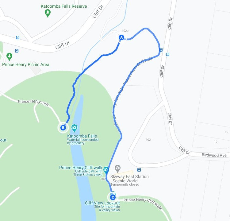 Map of walks around Katoomba Cascades