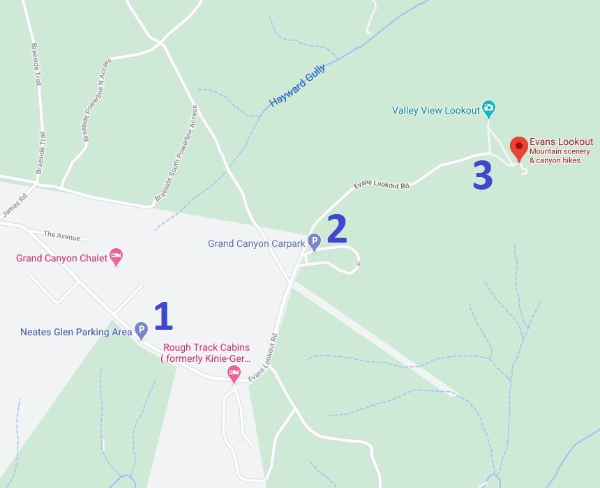 Map with parking options for Evans Lookout