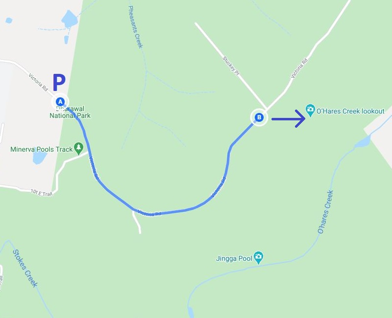 Map and route of the walk to O'Hares Creek Lookout