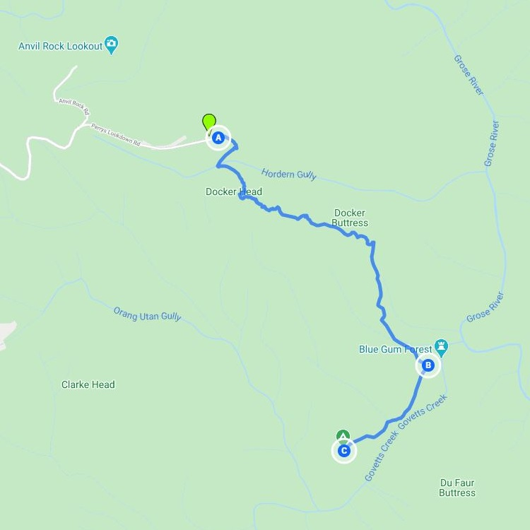 Map and route of the Perrys Lookdown to Blue Gum Forest walking track