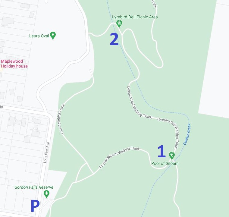 Map of Pool of Siloam and Lyrebird Dell