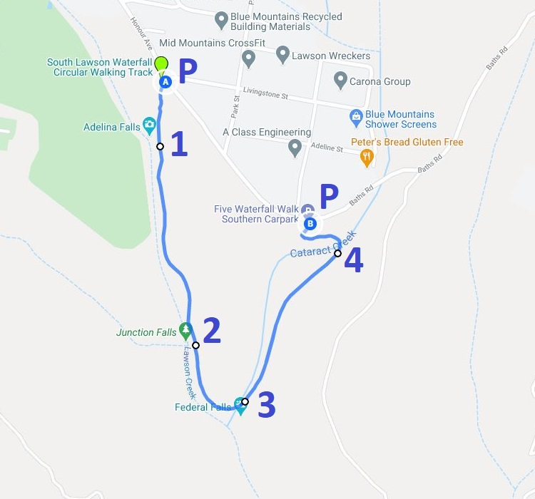 Map and route of the South Lawson waterfall circuit walk