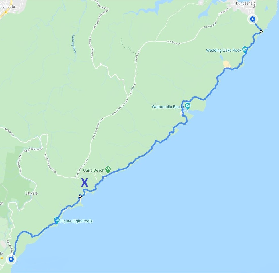 Map of the Coast Track from Bundeena to Otford