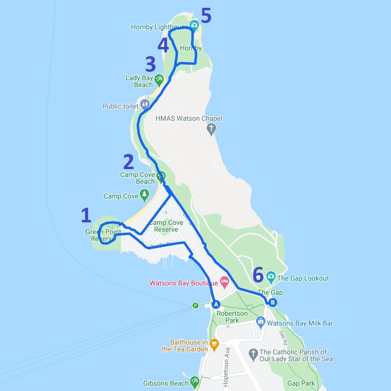 Map and route of the Watsons Bay walk