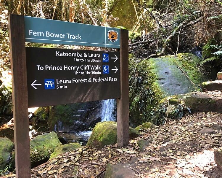 Fern Bower Track signpost