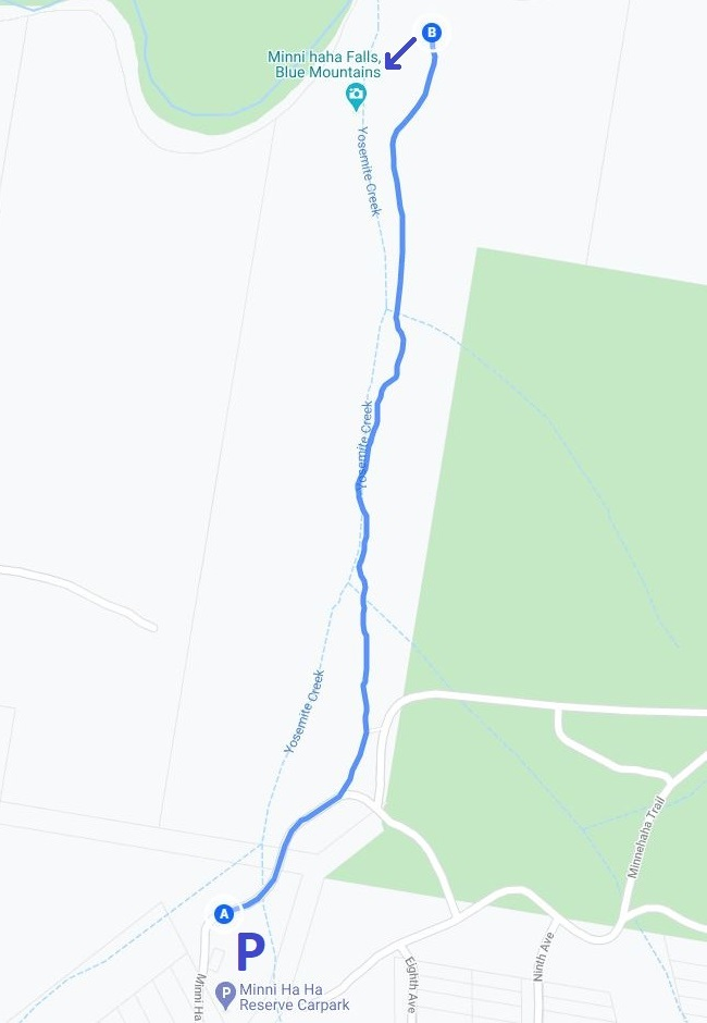 Map and route of the Minnehaha Falls walking track