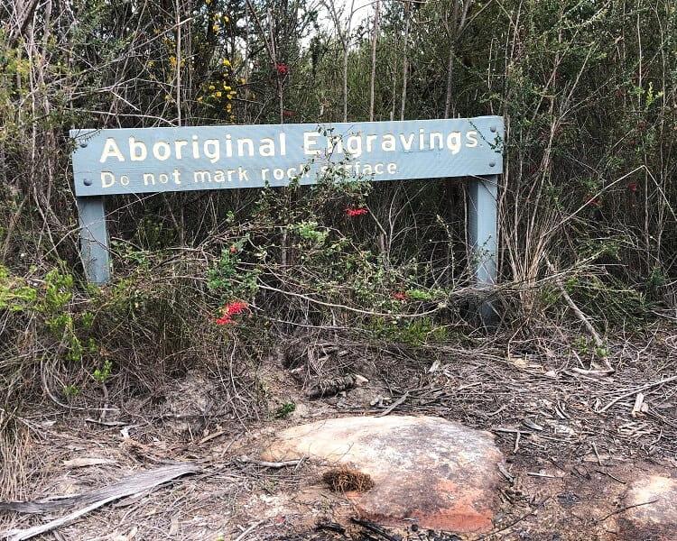 Signpost at Aboriginal engravings site