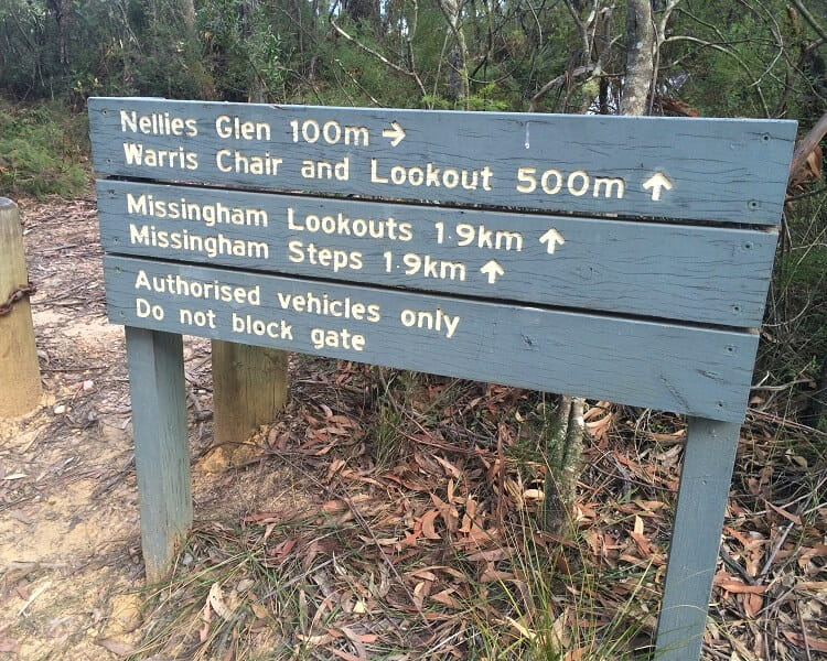 Signpost at Nellies Glen