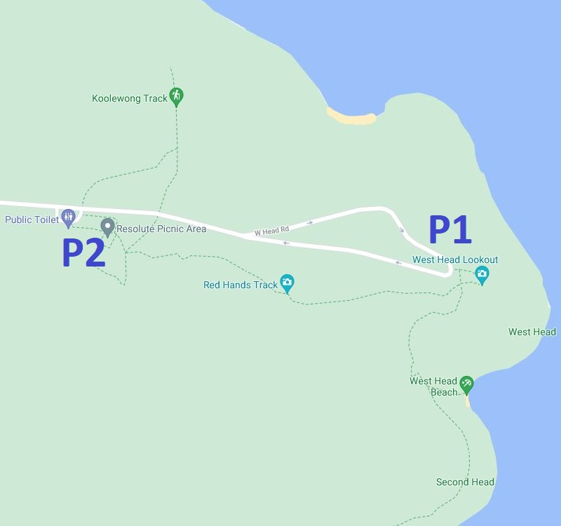 Map of West Head Lookout with parking options