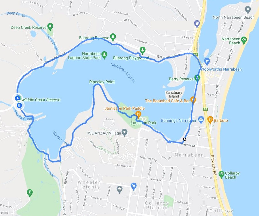 Map and route of the Narrabeen Lagoon Trail