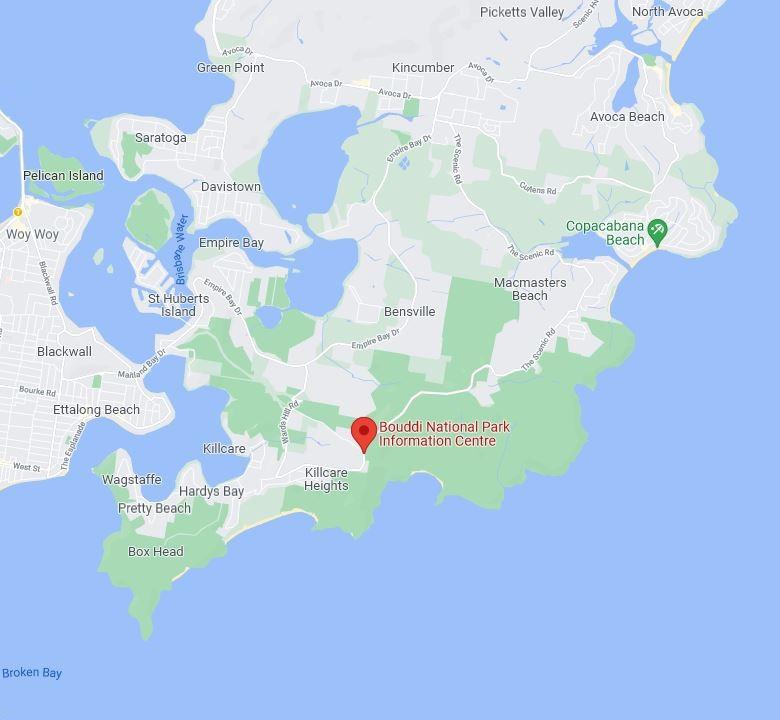 Map of Bouddi National Park